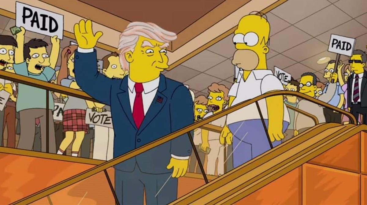 El 'presidente' Donald Trump y Hoomer, en el curioso episodio de 'Los Simpson' del año 2000.