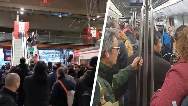 Transporte público colapsado en el primer día laborable del estado de alarma