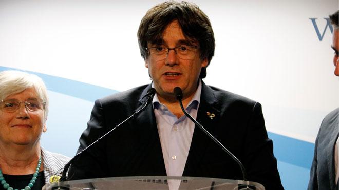 El Tribunal Europeo de Derechos Humanos avala que el CE suspendiera el pleno en el Parlament sobre el 1-O. En la foto, Puigdemont, durante la noche electoral del 26-M.