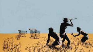 Trolley Hunters, uno de losgrabadosde Banksy.