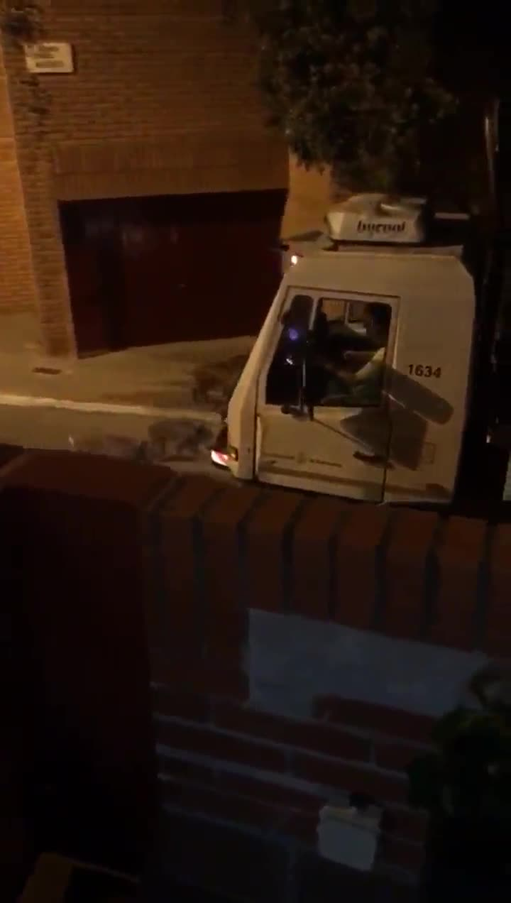 Una piara de jabalís persigue a un camión de la basura en la calle Maduixer, en el barrio de Gràcia de Barcelona.