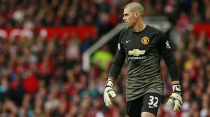 Víctor Valdés, durant un partit amb el Manchester United el maig passat.