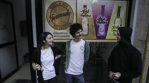 Sandra, Martí y Román, jóvenes emprendedores de La Teixonera.