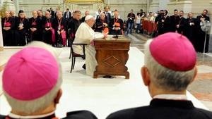 Encuentro del Papa con clérigos sicilianos, esta semana en el Vaticano.