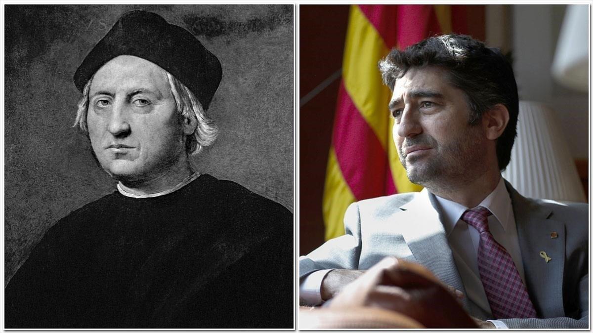 Cristobal Colón y el 'conseller' Puigneró.