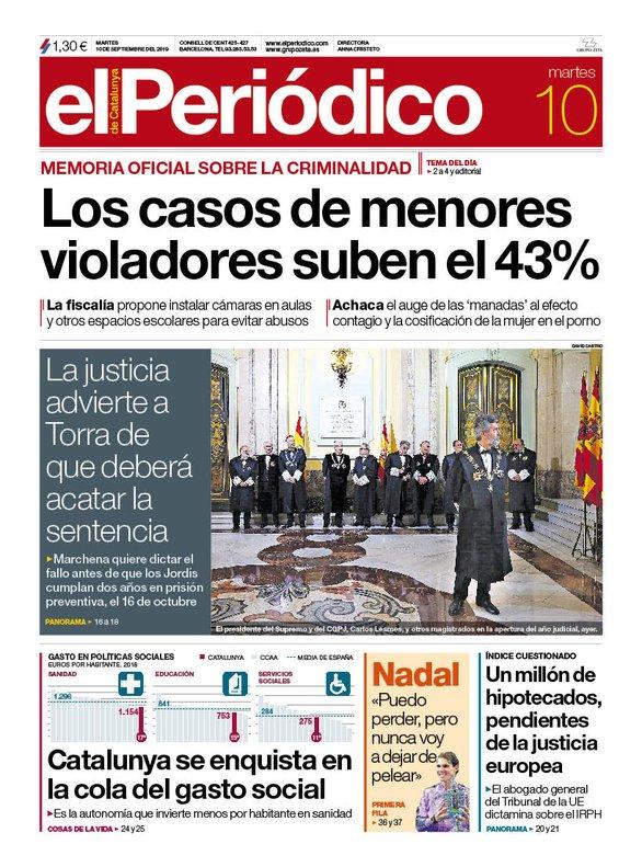 La portada d'EL PERIÓDICO del 10 de setembre del 2019