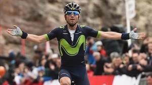 Alejandro Valverde triunfa en Lo Port, su segundo triunfo de etapa en la Volta 2017.