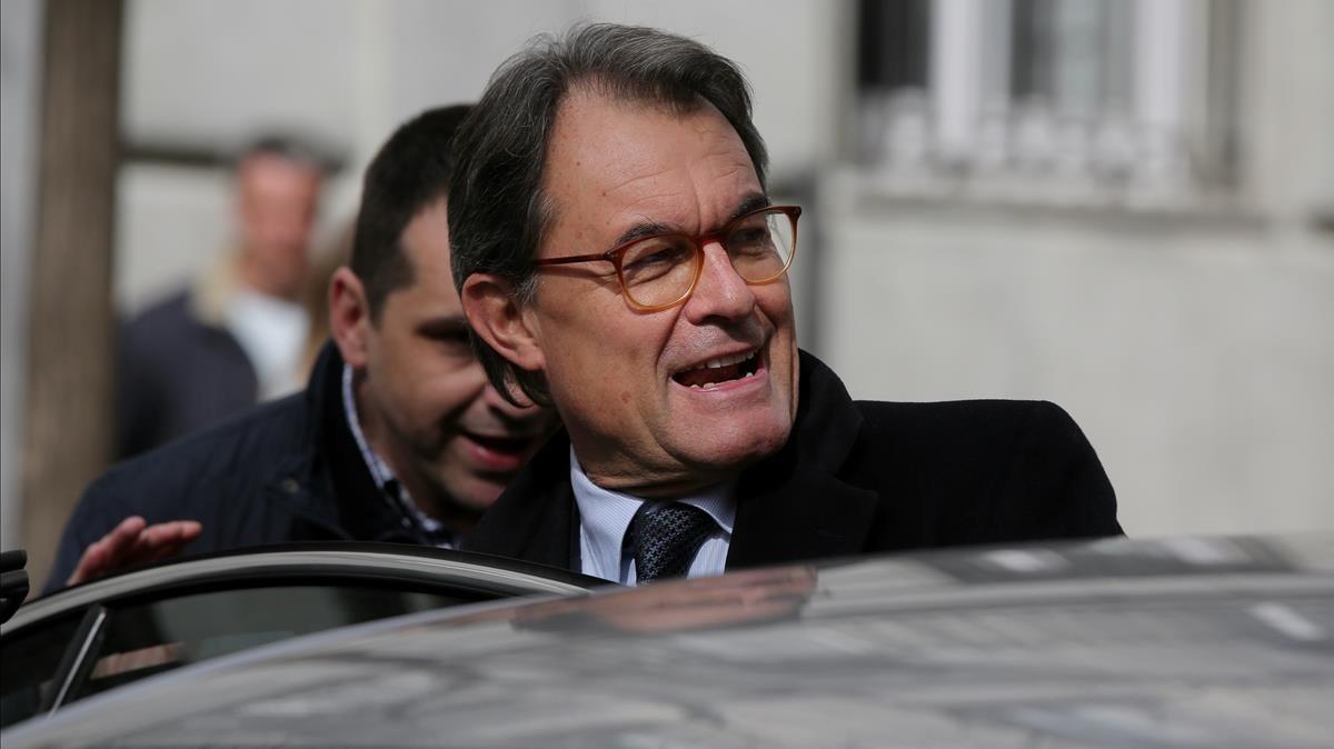 Artur Mas, tras salir del Tribunal Supremo, en febrero del 2018.