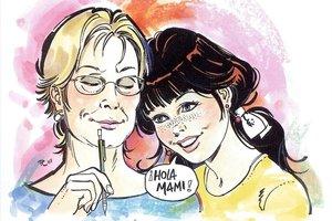 Autorretrato de Purita Campos con Esther, su mítico personaje.