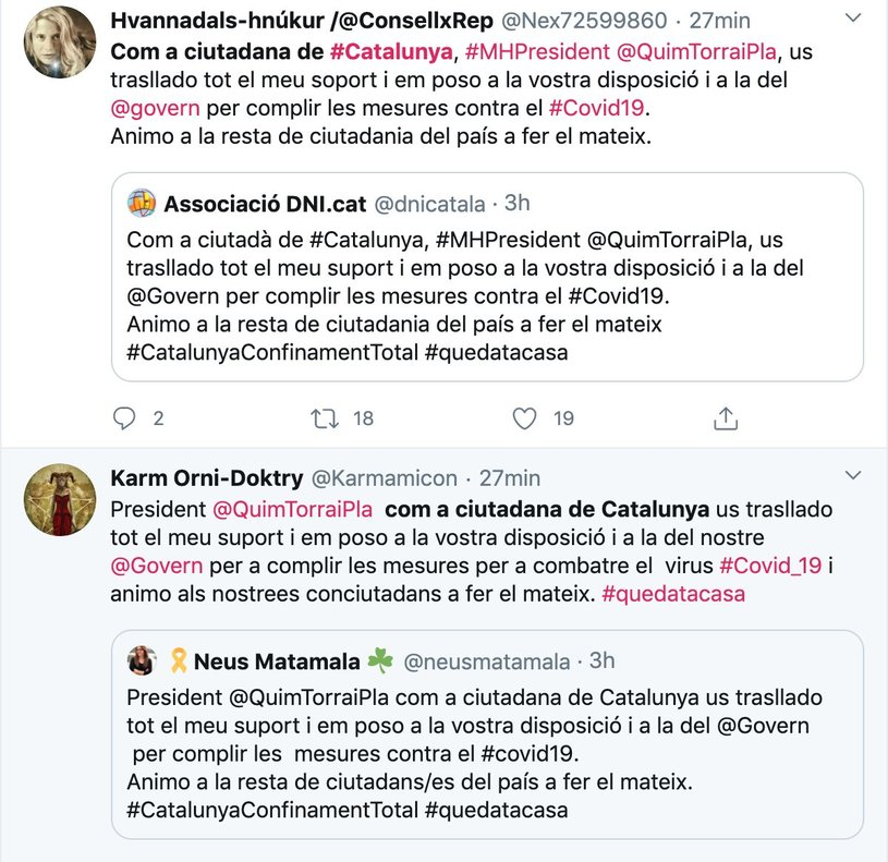 ¿'Bots' del Govern per recolzar Torra i el confinament total de Catalunya?
