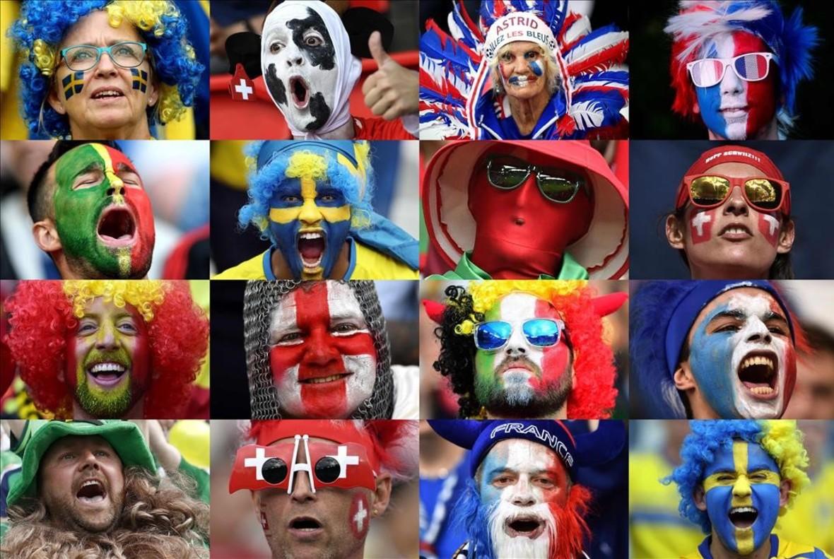 Caras deaficionados de distintos países que participan en laEurocopa 2016 en Francia.