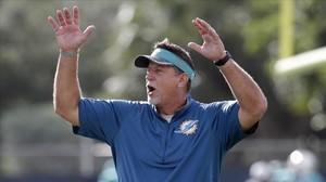 Chris Foerster, en un entrenamiento de los Miami Dolphins.