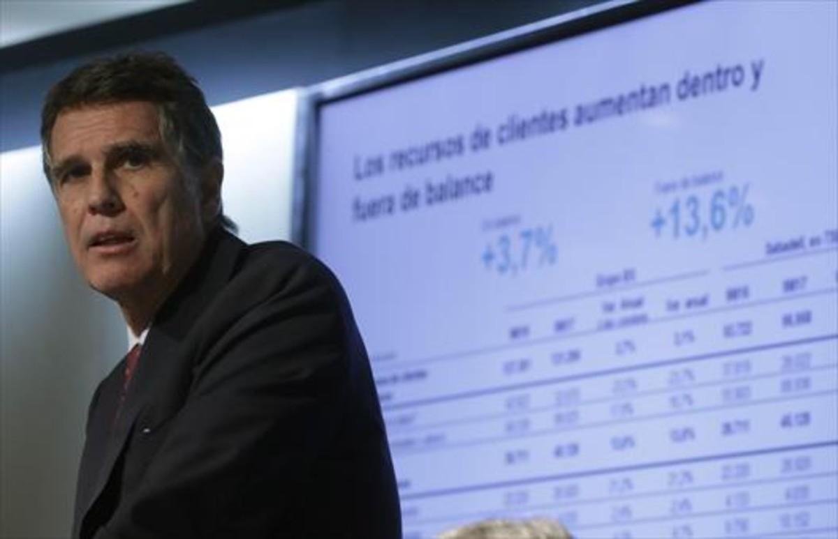 El consejero delegado del Banc Sabadell, Jaime Guardiola, en la rueda de prensa celebrada en Madrid para presentar los resultados.