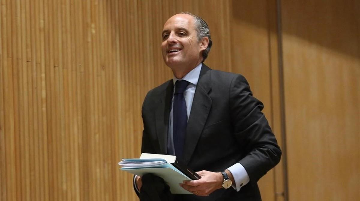 Francisco Camps, este martes a su llegada al Congreso de los Diputados.
