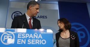 Los dirigentes del PPC Xavier García Albiol y Andrea Levy.