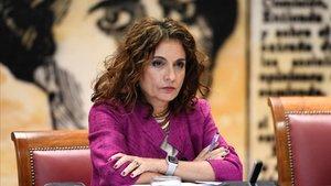 La ministra de Hacienda, María Jesús Montero, durante su comparecencia en el Senado.