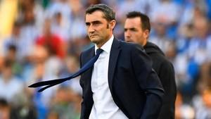 """Valverde, """"una miqueta preocupat, però molt poc"""" després del partit d'Anoeta"""