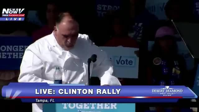 José Andrés, estrella en un mítin de Clinton en Florida.