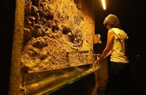 Baños de la Fábrica Moritz. Están instalados sobreuna antigua sala de fermentación del siglo XIX