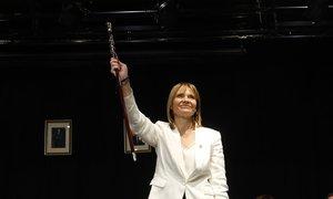 Lluïsa Moret, este sábado justo después de ser reelegida alcaldesa de Sant Boi.