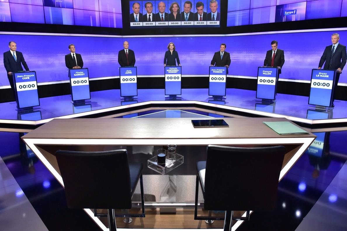 Los 7 candidatos de la derecha: Cope, Sarkozy, Juppé, Kosciusko-Morizet, Poisson, Fillon y Le Maire.