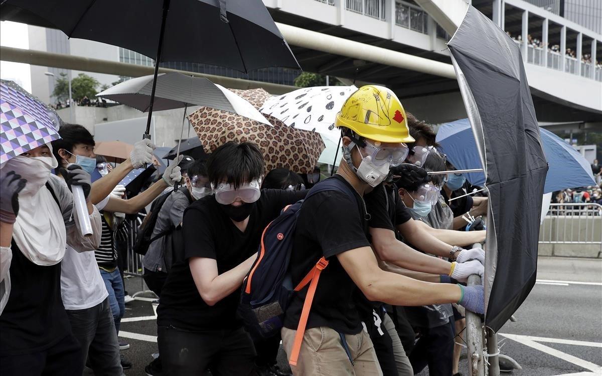 Manifestantes durante las protestas en Hong Kong.