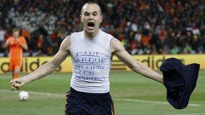 Iniesta celebra su gol en la final de la Copa del Mundo del 2010