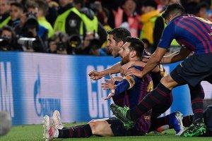 Messi celebra el tercer gol del Barça ante el Liverpool.