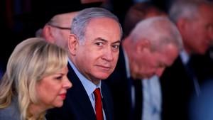 Netanyahu y su mujerSara en un acto el pasado mes de febrero.