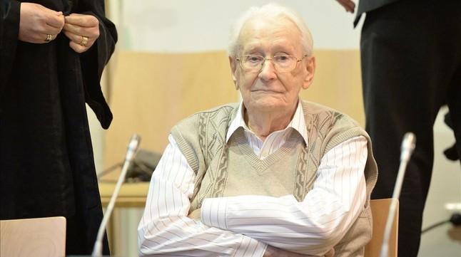 Oskar Gröning, en el tribunal de Lunëburg, este martes.