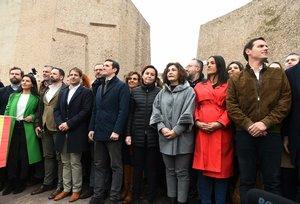 Pablo Casado, Albert Rivera y Santiago Abascal, en la manifestación de la plaza de Colón de Madrid