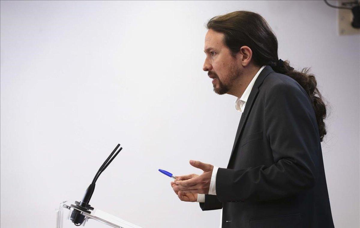 Pablo Iglesias, en rueda de prensa.