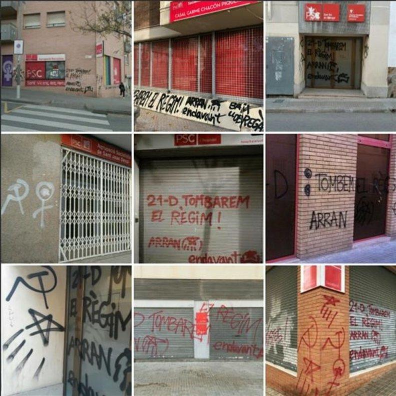 Pintadas de Arran en las sedes del PSC.