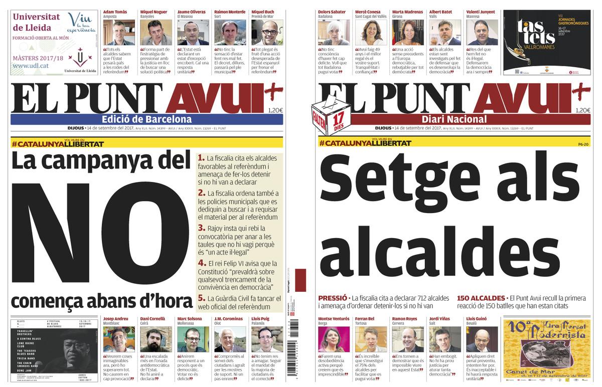En Madrid se jalea la persecución de alcaldes; en Barcelona se denuncia
