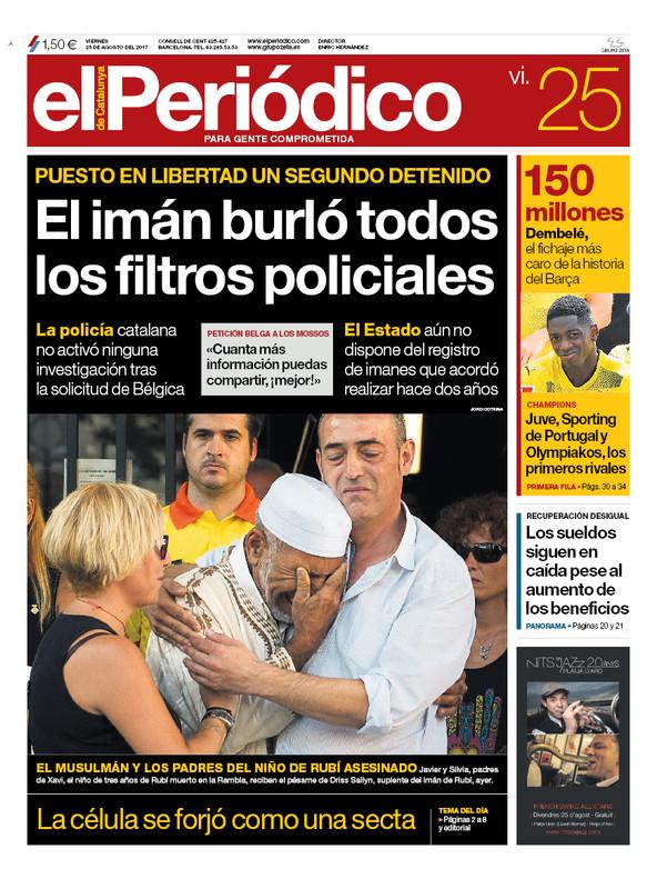 La portada de EL PERIÓDICO del 25 de agosto del 2017.
