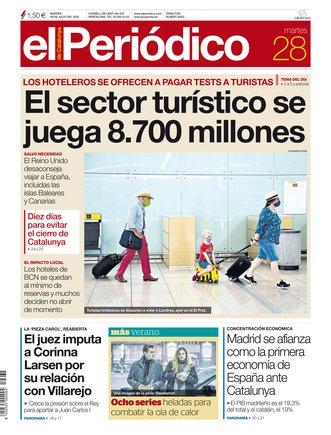 La portada de EL PERIÓDICO del 28 de julio del 2020.
