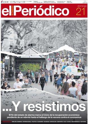 La portada de EL PERIÓDICO del 21 de junio del 2020