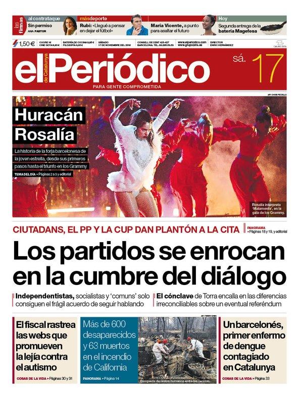 La portada de EL PERIÓDICO del 17 de noviembre del 2018