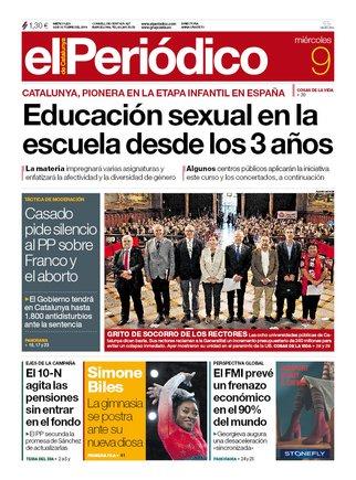 La portada de EL PERIÓDICO del 9 de octubre del 2019
