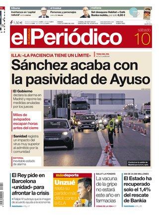 La portada de EL PERIÓDICO del 10 de octubre del 2020