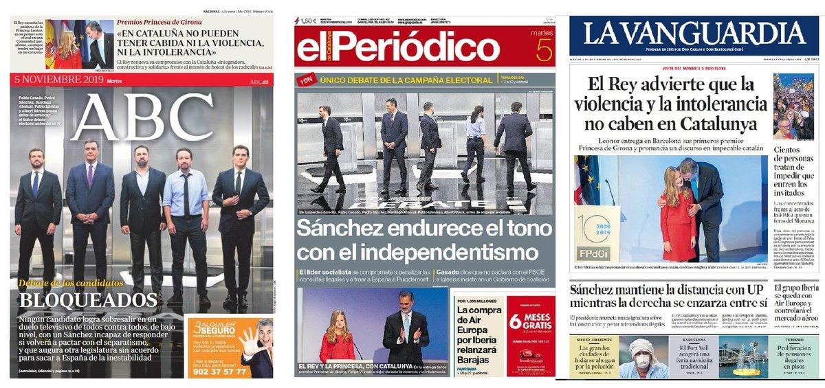 Prensa de hoy: Las portadas de los periódicos del martes 5 de noviembre del 2019
