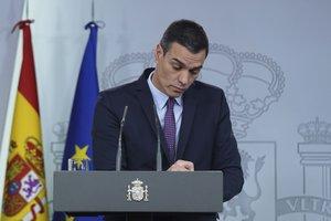 El presidente del Gobierno, Pedro Sánchez, durante una rueda de prensa.