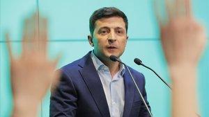 El presidente de Ucrania y cómico, Volodymyr Zelenski, durante un acto en abril de este año.
