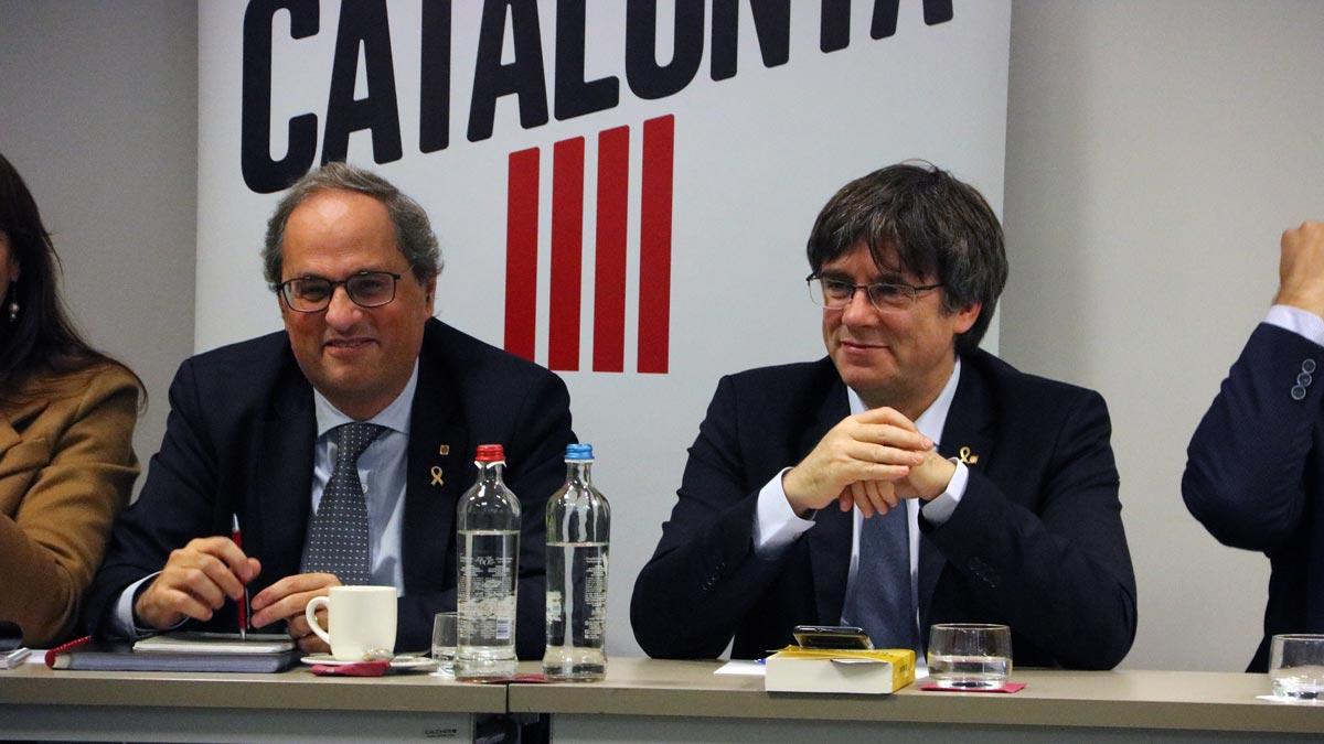 Puigdemont, Torra (en la foto) y diputados del Parlament se reúnen en Bruselas.