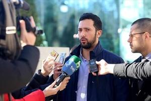Valtonyc, el pasado 8 de febrero, a las puertas de la Audiencia Nacional.