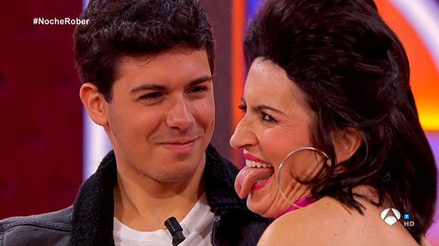 Alfred con Silvia Abril en La noche de Rober (A-3 TV).