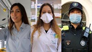 Sonia, Olaya y Priscilla, tres de las profesionales de servicios básicos que dan la cara por la ciudadanía durante el confinamiento.