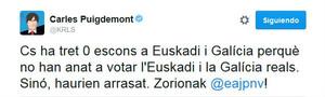 Puigdemont se mofa del resultado de Ciudadanos en Galicia y Euskadi
