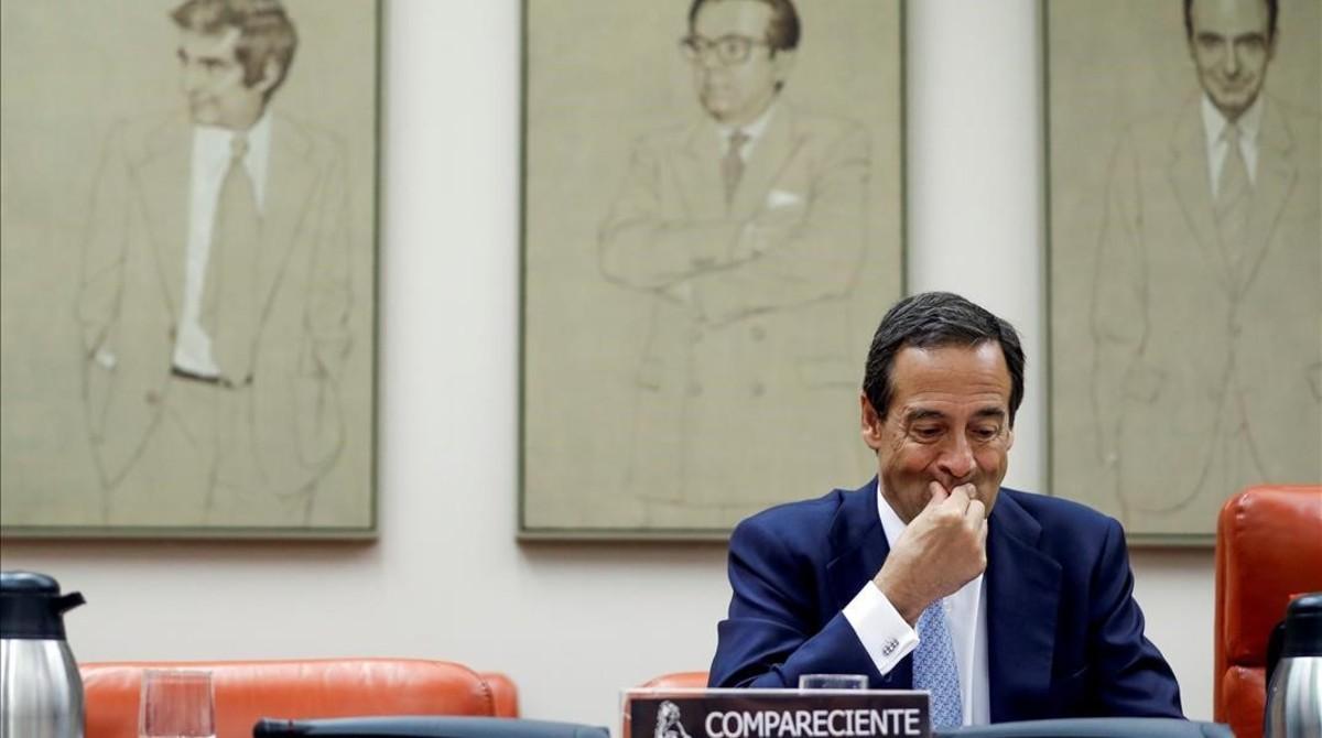 El consejero delegado de CaixaBank,Gonzalo Gortázar,durante su comparecenciaen la comision del Congreso que investiga la crisis financiera y el rescate bancario.