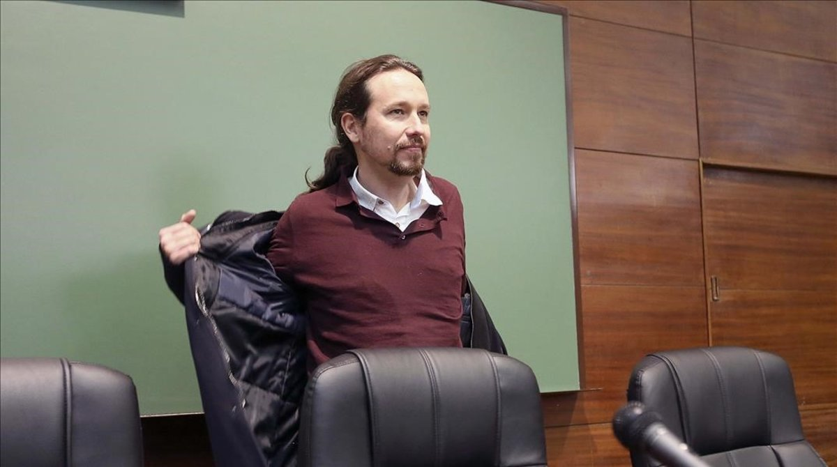 El secretario general de Podemos, Pablo Iglesias, participa como ex miembro del colectivo estudiantil UEP-eien la charla La lucha antifascista en la Union de Estudiantes Progresistas -Estudiantes de Izquierdas